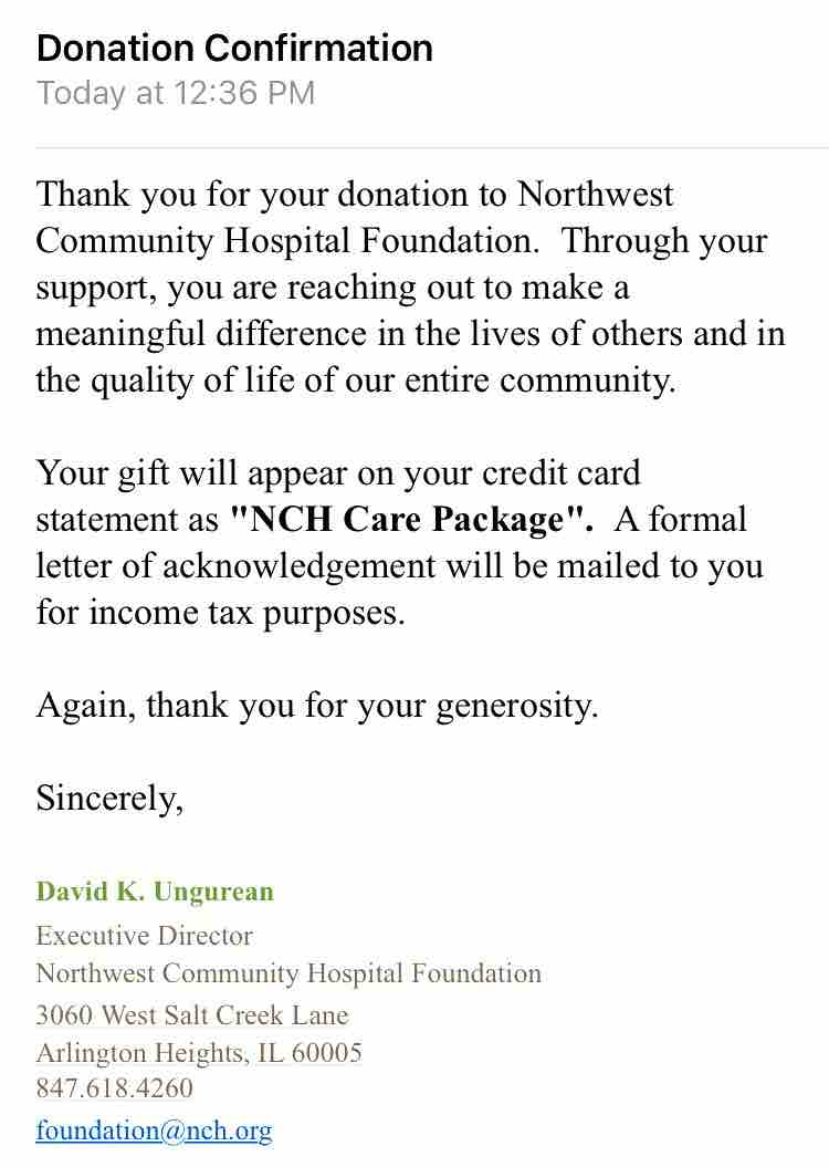 today we donated the rest of the funds we raised to the nicu at northwest community hospital thank you to everyone who contributed to our gofundme