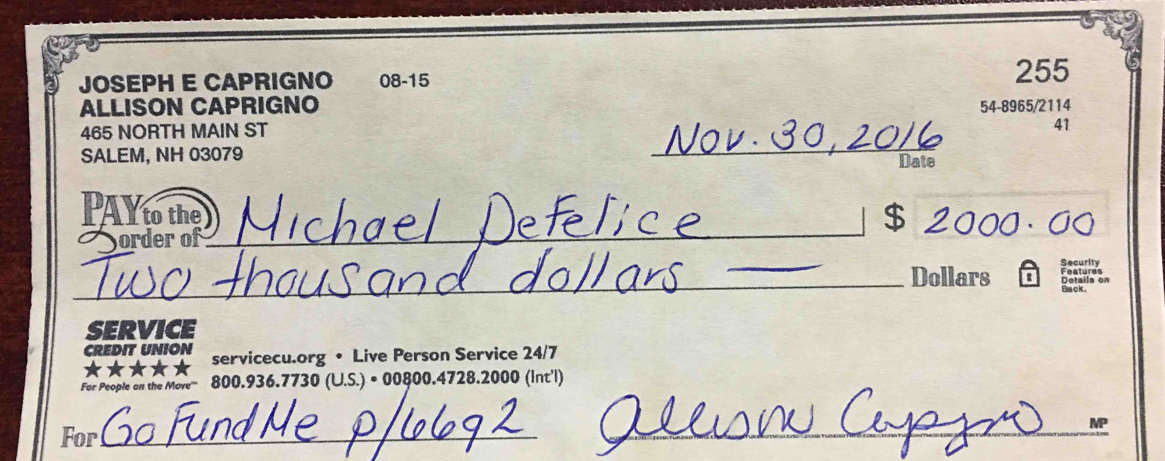 defelice family fund by allison downing caprigno gofundme today we got this first check to mike linda i am sure this will help get them back on their feet but let s still keep trying to reach our goal