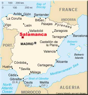 salamanca spain map ireland map